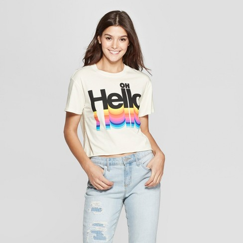 Women's Short Sleeve Oh Hello Cropped T-Shirt - Mighty Fine (Juniors') - Cream - image 1 of 2