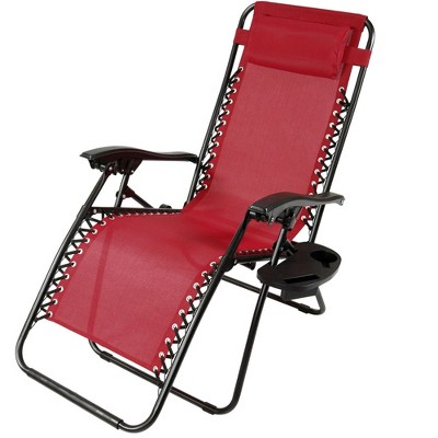 Zero Gravity Lounge Chair with Pillow and Cup Holder - Red - Sunnydaze Decor