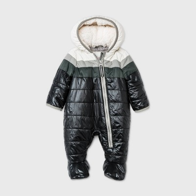 Baby Puffer Snowsuit - Cat & Jack™ Black/Gray 9M