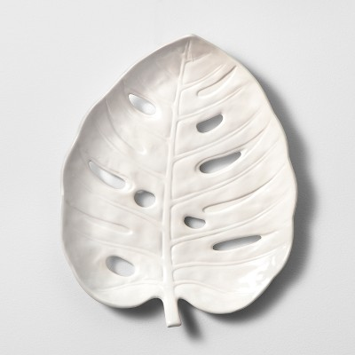 Stoneware Leaf Plate Decorative Wall Sculpture White 15 x 12.25  - Opalhouse™