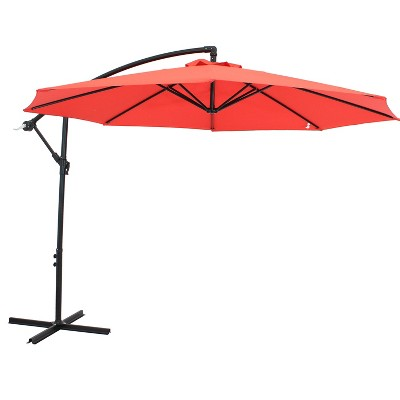 Sunnydaze Outdoor Steel Cantilever Offset Patio Umbrella with Air Vent, Crank, and Base - 9' - Cherry