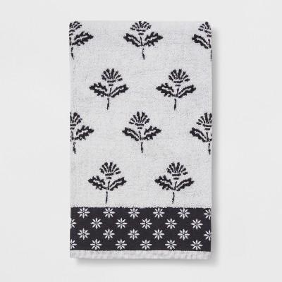 Sculpted Floral Bath Towel Black/White - Threshold™
