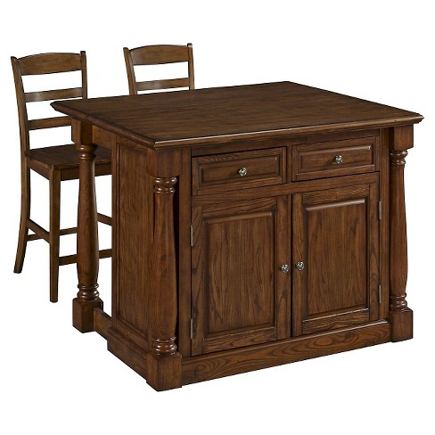 Monarch Kitchen Island with Wood Top & Two Stools - Oak - Home Styles - image 1 of 3