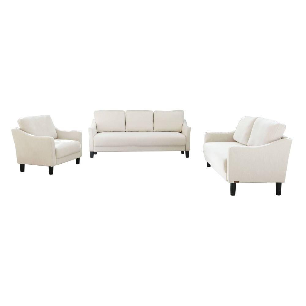 Image of 3pc Cleo Fabric Sofa, Loveseat & Armchair Set Ivory - Abbyson Living