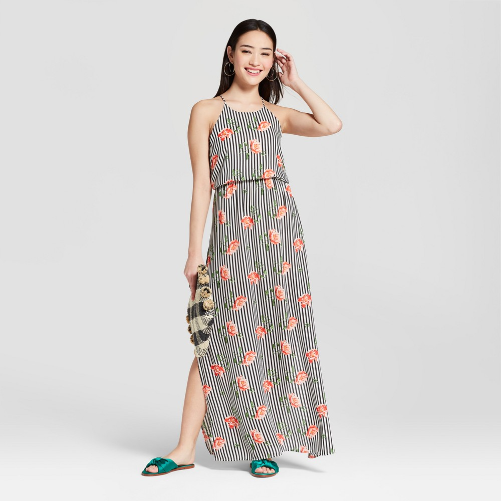 Women's Striped Floral High Neck Maxi Dress - Everly Clothing (Juniors') Black M, Size: Small was $44.99 now $13.49 (70.0% off)