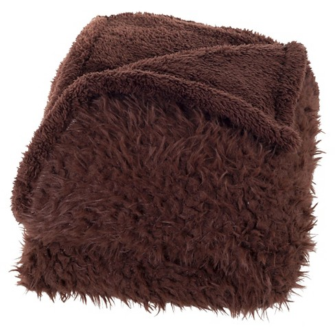 """Brown Solid Fleece Sherpa Backed Throw (50""""X60"""") - Yorkshire Home - image 1 of 3"""