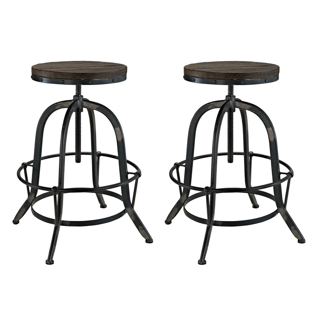 Collect Bar Stool Set of 2 Black - Modway