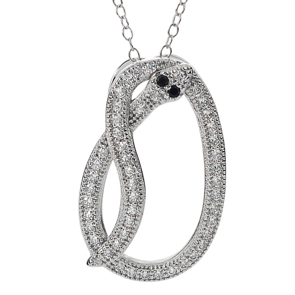3/8 CT. T.W. Round-cut CZ Pave Set Snake Pendant Necklace in Sterling Silver - Silver, Girl's