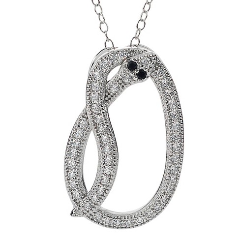 3/8 CT. T.W. Round-cut CZ Pave Set Snake Pendant Necklace in Sterling Silver - Silver - image 1 of 3