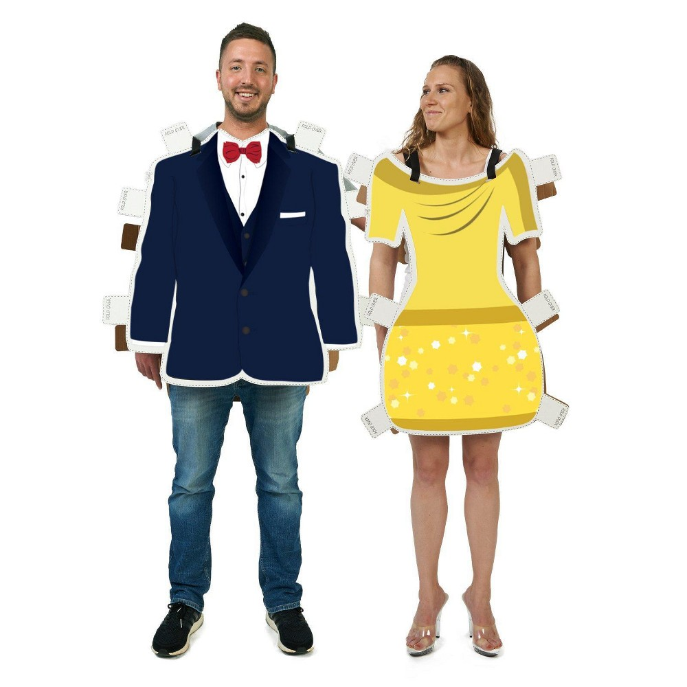 Adult Royal Dress & Suit Paper Doll Couple Costume Kit, Adult Unisex, Multi-Colored