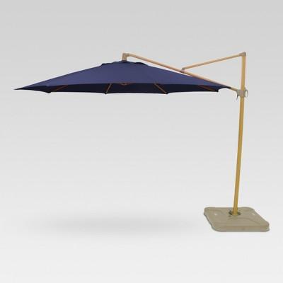 11u0027 Round Offset Patio Umbrella With Base   Light Faux Wood Pole    Threshold™