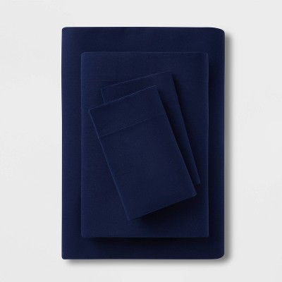 King Easy Care Solid Sheet Set Navy - Room Essentials™