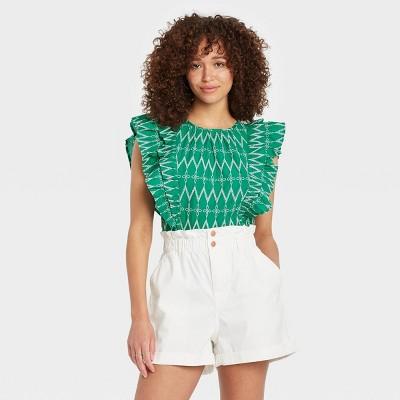 Women's Flounce Sleeveless Embroidered Ruffle Blouse - Universal Thread™