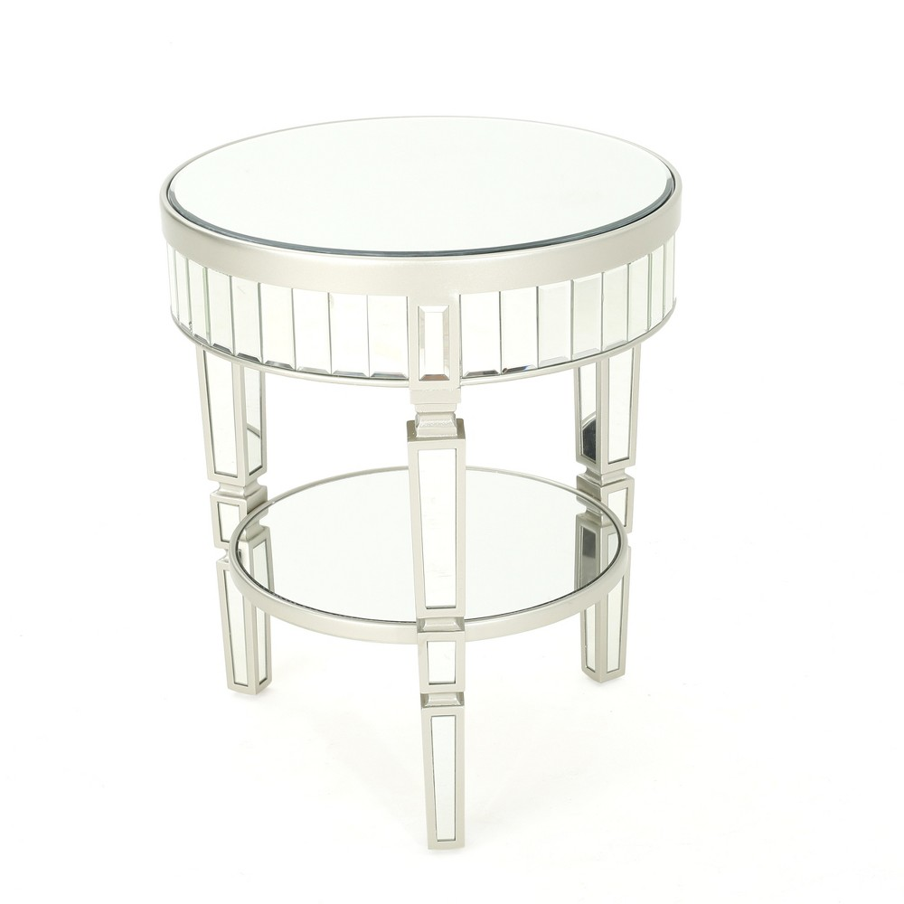 Willa Mirrored Round Table Champagne Silver - Christopher Knight Home