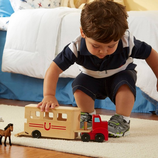 Melissa & Doug Horse Carrier Wooden Vehicle Play Set With 2 Flocked Horses and Pull-Down Ramp image number null