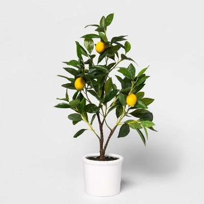 "25"" x 7"" Artificial Lemon Tree in Pot Yellow/Green - Threshold™"