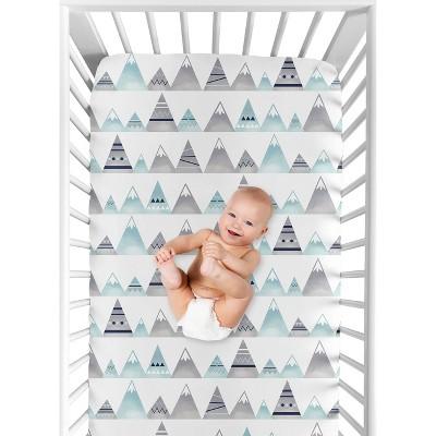 Sweet Jojo Designs Fitted Crib Sheet - Mountains Print - White