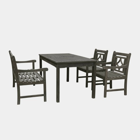 Vifah Patio Furniture.Renaissance 4pc Rectangle Wood Outdoor Patio Dining Set Gray Vifah