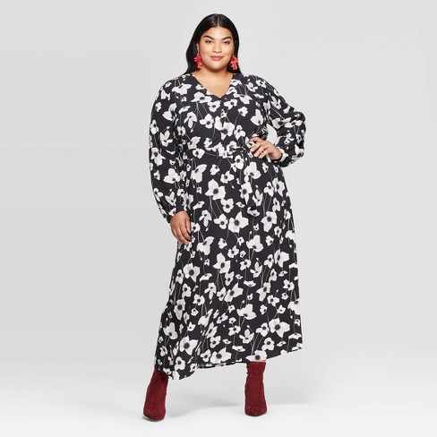 Women\'s Plus Size Floral Print Long Sleeve V-Neck Button-Front Maxi Dress -  Ava & Viv™ Black/White