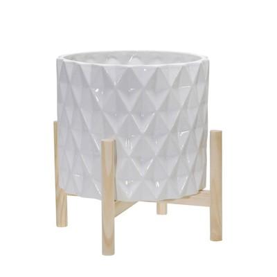 Ceramic Diamond Planter with Wood Stand White - Sagebrook Home