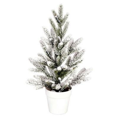 "Vickerman 14"" x 10"" Flocked Mica Pine Artificial Christmas Tree, Unlit"