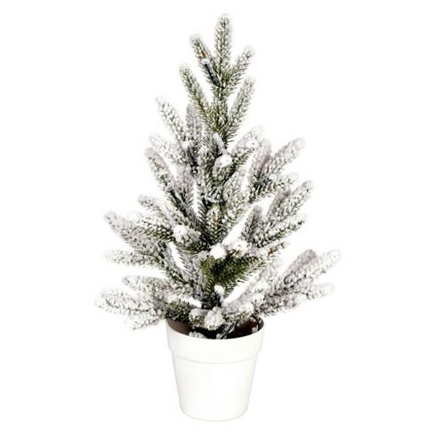 "Vickerman 14"" x 10"" Flocked Mica Pine Artificial Christmas Tree, Unlit - image 1 of 2"