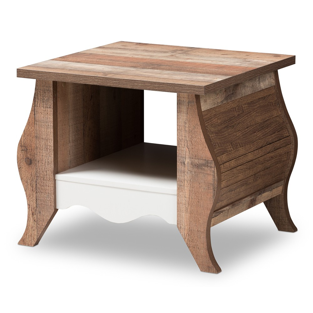 Raynell Country Cottage Farmhouse and Oak Finished End Table Brown - Baxton Studio
