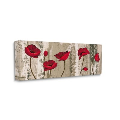 Stupell Industries Red Poppies Blooming Rustic Distressed Wood Grain