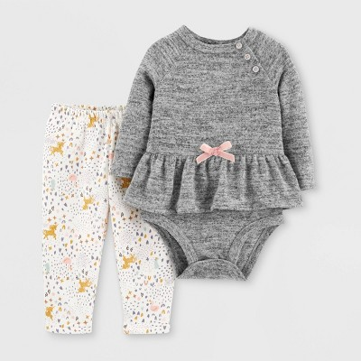 Baby Girls' 2pc All Over Print Top & Bottom Set - Just One You® made by carter's Gray/Cream 3M