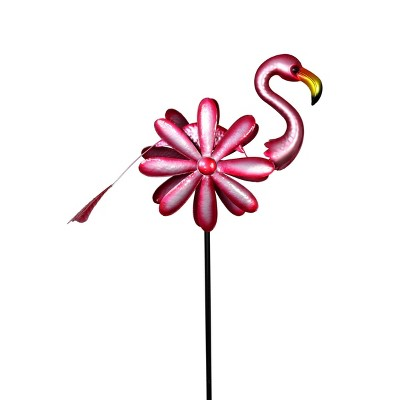 """75"""" Metal Flamingo Double Sided Spinner Stake Pink - Exhart"""