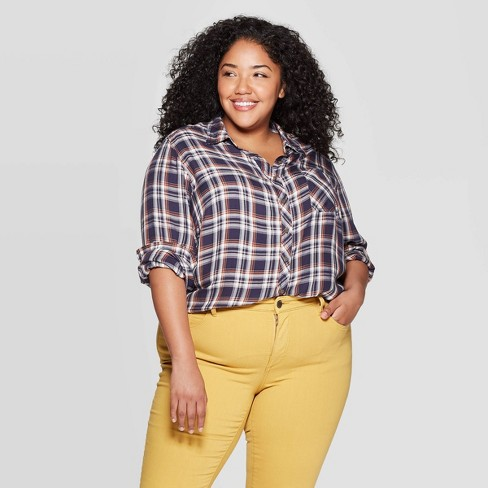 Women's Plus Size Plaid Long Sleeve Collared Button-Down Shirt - Universal Thread™ Navy - image 1 of 3