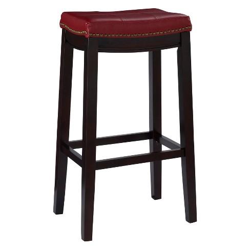 Padded Saddle Seat Barstool Hardwood Linon