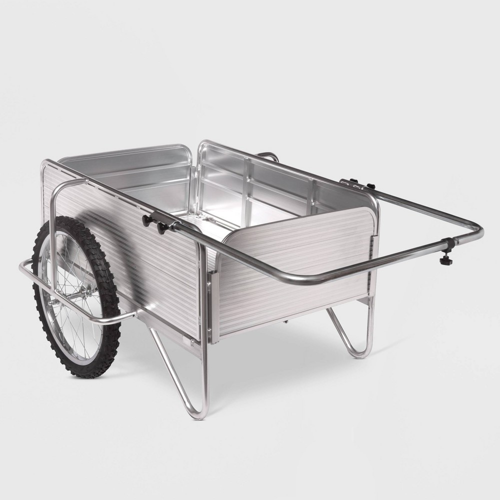 Sun Joe 53 All Purpose Heavy Duty Metal Yard Cart With Removable Panels Silver