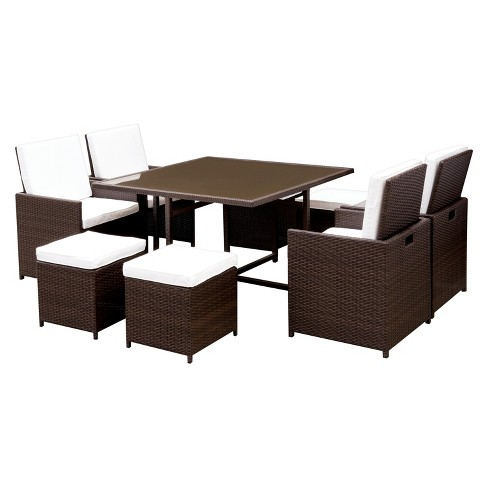 9pc Milan Square All Weather Wicker Patio Dining Set Brown/White - miBasics - image 1 of 4