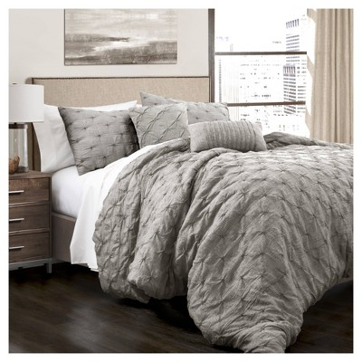 King 5pc Ravello Pintuck Comforter Set Gray - Lush Décor