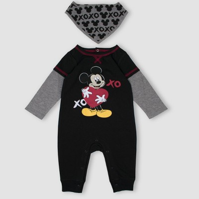 Baby Boys' Mickey Mouse & Friends 2pc Romper and Bib Set - Black 0-3M