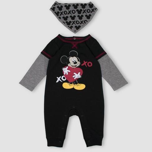 b504d33f8147 Baby Boys  Mickey Mouse   Friends 2pc Romper And Bib Set - Black ...