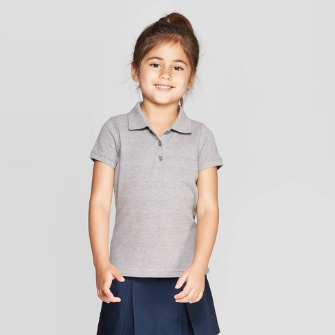 Toddler Girls' Short Sleeve Pique Uniform Polo Shirt - Cat & Jack™ - image 1 of 3