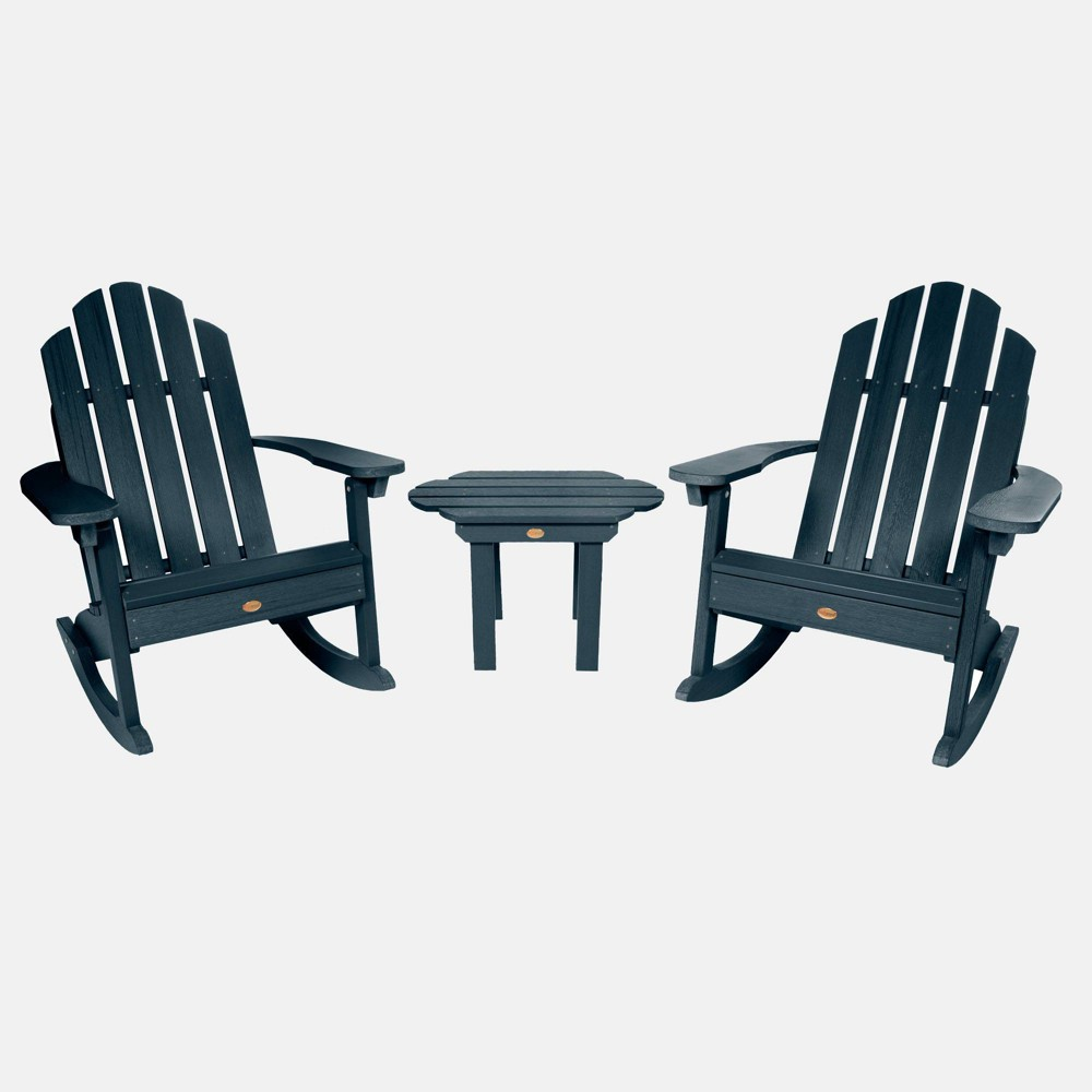 Image of 3pc Classic Westport Adirondack Rocking Chair Patio Set Federal Blue - highwood