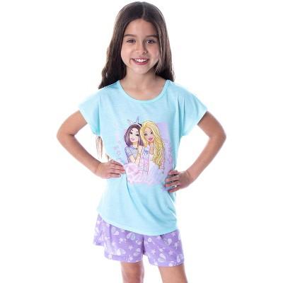 Barbie Little Girls' Unicorn Love Shirt and Shorts 2 PC Pajama Set