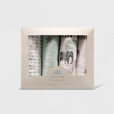 Flannel Baby Blankets Elephants - Cloud Island™ Gray 4pk