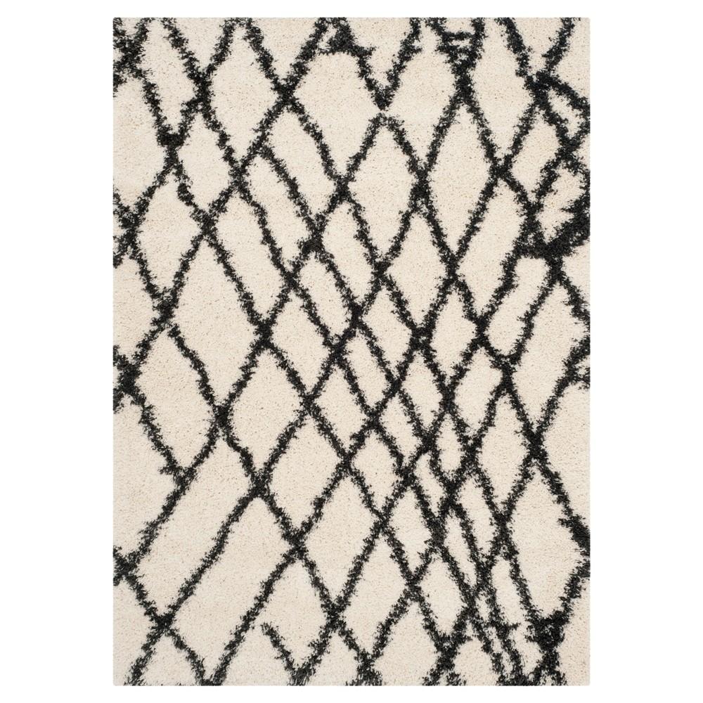 Ivory/Charcoal Geometric Shag/Flokati Loomed Area Rug - (5'1