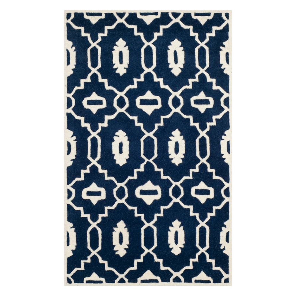 3X5 Geometric Accent Rug Dark Blue/Ivory - Safavieh Price
