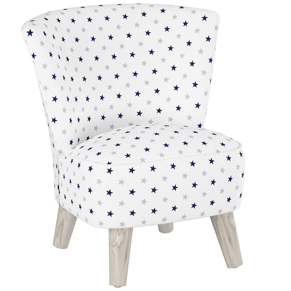 Kids Printed Armless Curved Back Modern Chair Navy/Gray Stars (Blue/Gray Stars) with Gray Legs - Pillowfort