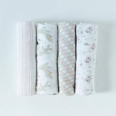 Patina Vie 100% Cotton Swaddle Set - Bunnies 4pc