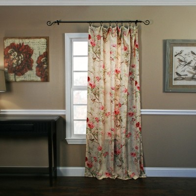 "Ellis Curtain Balmoral High Quality Fabric Perfect Decorative Floral Print Tailored Panel Rod Pocket Window Curtain - 48"" x84"""