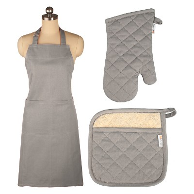 Cooking Apron/Mitt/Potholder Gray 3pc Set -Mu Kitchen
