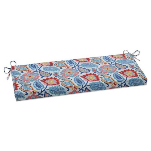 """45"""" x 18"""" Outdoor/Indoor Bench Cushion Moroccan Flowers Slate Blue - Pillow Perfect - image 1 of 1"""