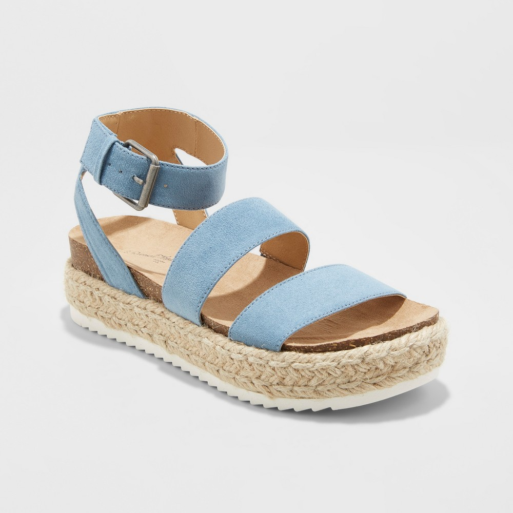 Image of Women's Agnes Microsuede Flatform Espadrille - Universal Thread Blue 7.5