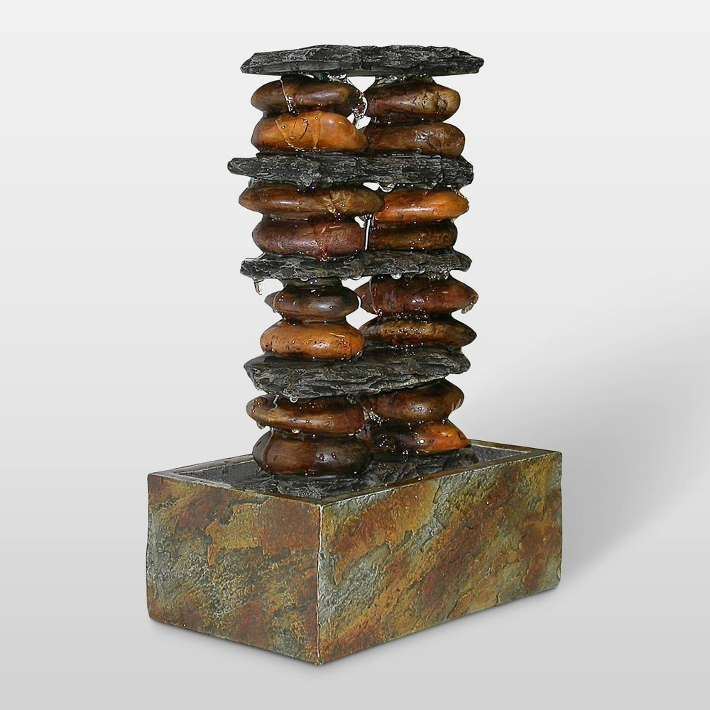 "Image of ""Alpine Corporation 12"""" Eternity Tabletop Fountain Stacked Rocks - Multi Color"""
